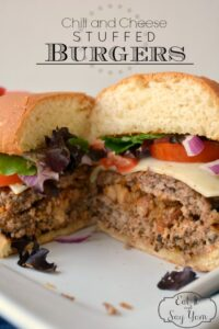 Chili and Cheese Stuffed Burgers from Eat It & Say Yum, perfect for summer!!