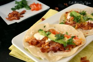 Chicken Club Tacos with Spicy Chipotle Ranch Sauce from Eat It & Say Yum