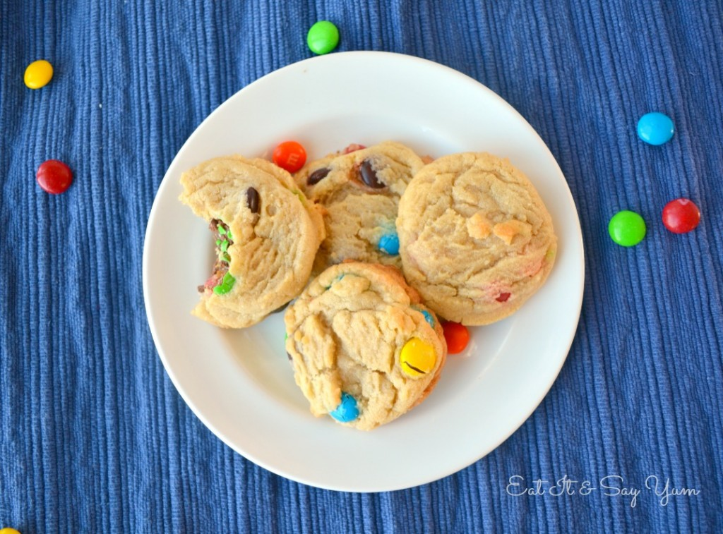 M&M cookies that are perfectly soft and chewy from Eat It & Say Yum 716