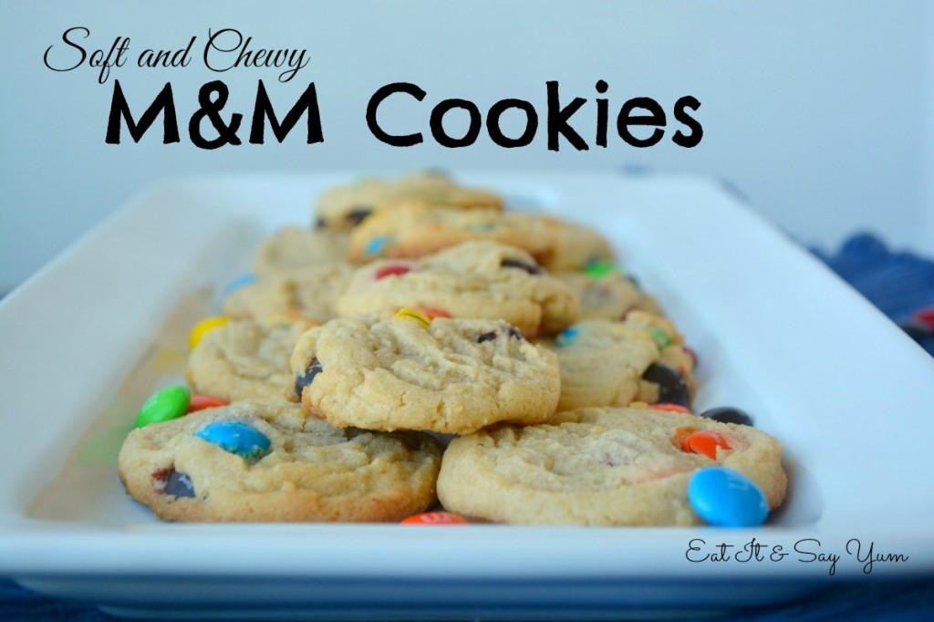 Perfectly soft and chewy m&m cookies from Eat It & Say Yum, plus tips how making a large batch and how to easily freeze it for use later