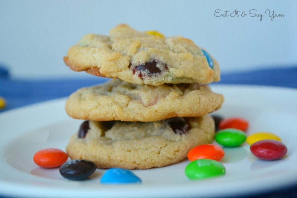 Soft and Chewy M&M cookies from Eat It & Say Yum 703