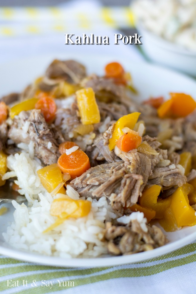 Kahlua Pork- delicious Hawaiian pork with rice and sweet and sour sauce