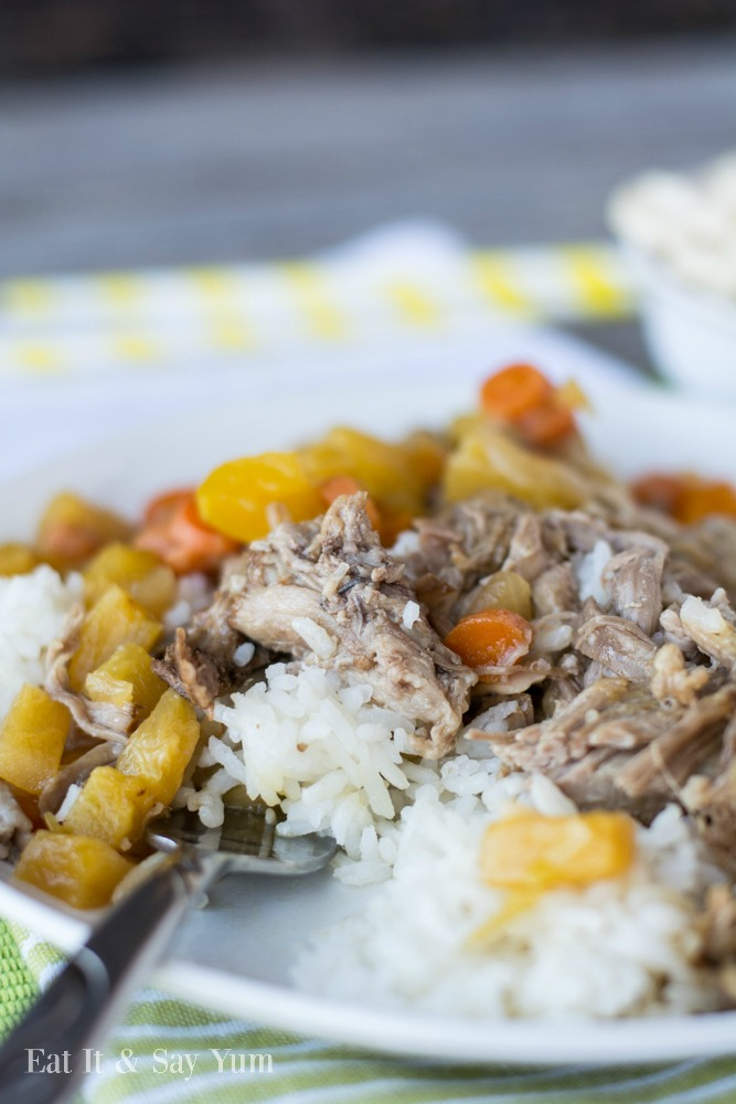 Kahlua Pork over rice with sweet and sour sauce