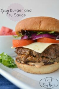 Chili and Cheese Stuffed Burgers with Spicy Burger and Fry Sauce from Eat It & Say Yum