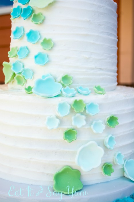 Aqua and Mint Wedding Cake with Ombre Flowers