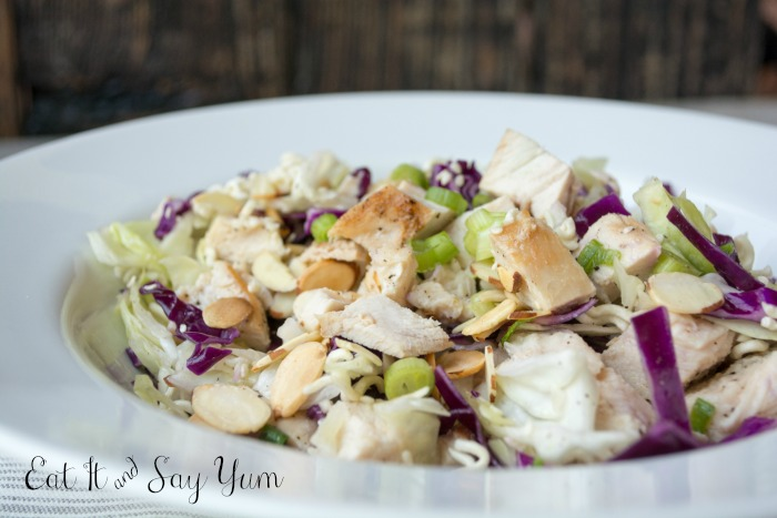 Asian Cabbage Salad with Chicken and Crunchy Noodles