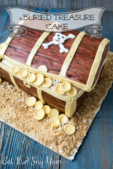 Buried Treasure Cake with Fondant Doubloons from Eat It & Say Yum