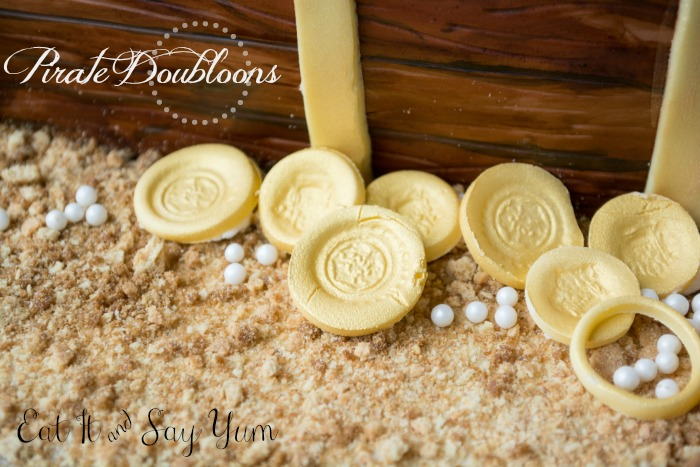 Pirate Doubloons on Buried Treasure Cake from Eat It & Say Yum