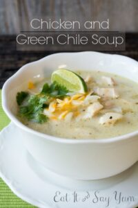 A warming soup with chicken, green chiles, and white beans.
