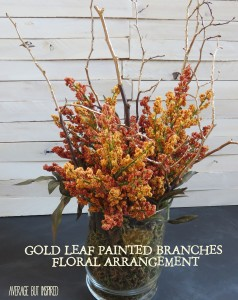Gold Leaf Painted Branches Floral Arrangement