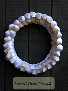 Gray background paper wreath