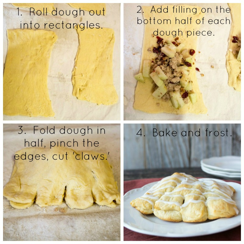 Step by step how to make bear claws