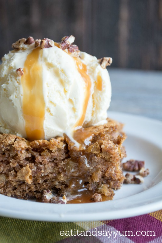 Apple Cake with Ice Cream and Caramel- Monthly Ingredient Challenge