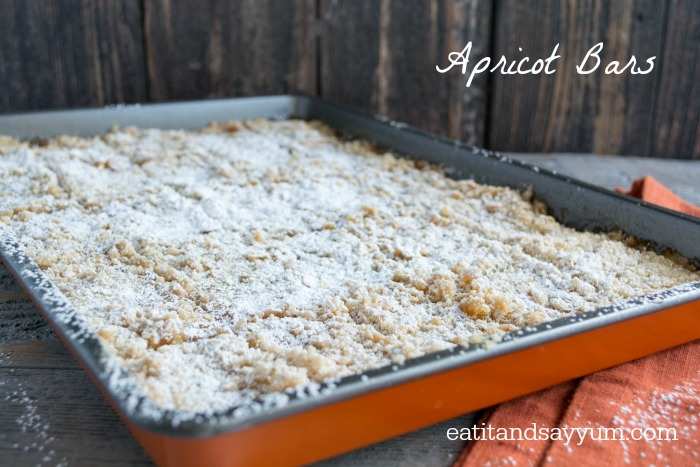 Apricot Bars are a perfectly light and delicious dessert.  www.eatitandsayyum.com