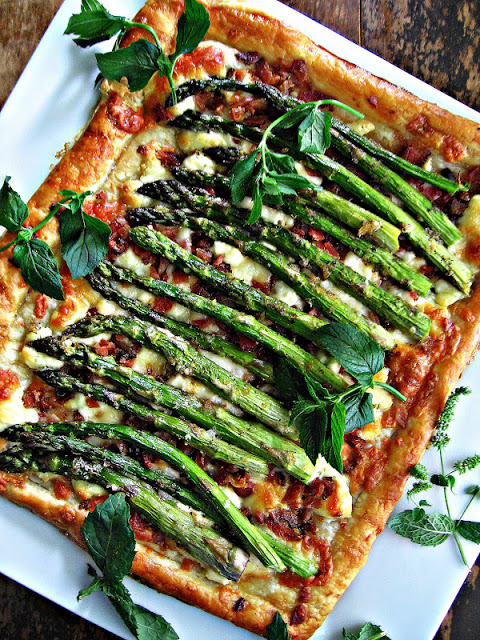 asparagus bacon and cheese tart