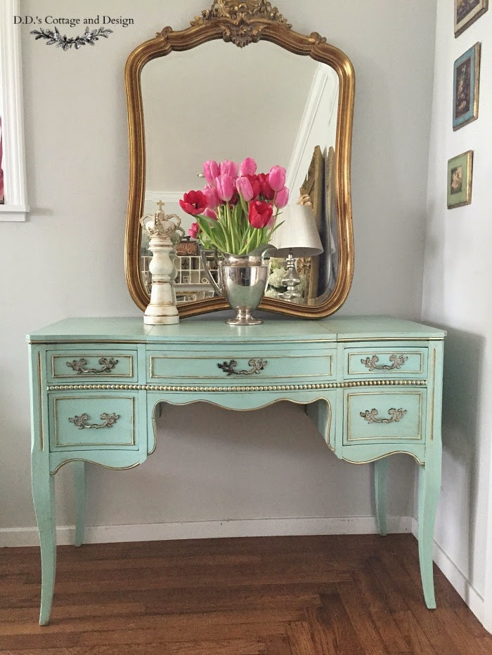 blue and gold vanity