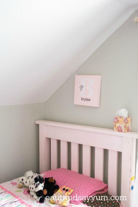 Girls Room- grey walls in girls room, bedroom reveal