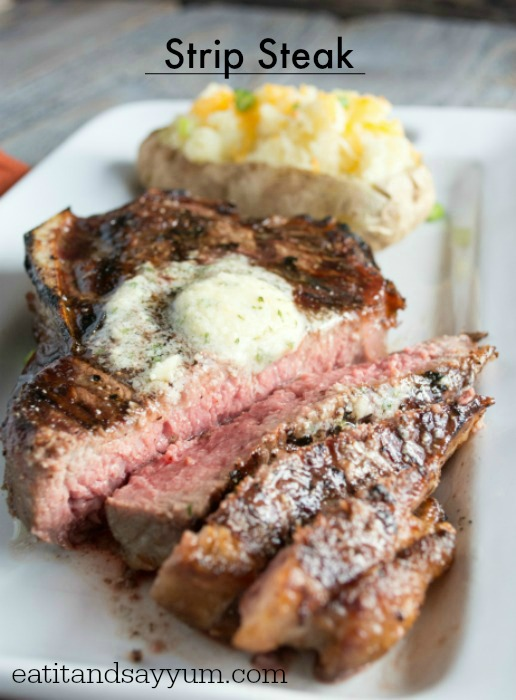 Strip Steak with Garlic and Cheese Butter from Eat It & Say Yum