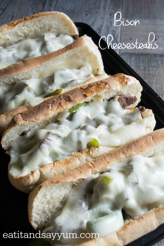 Bison Cheese Steaks from Eat It & Say Yum