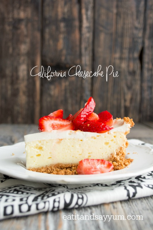 California Cheesecake Pie with Macerated Strawberries