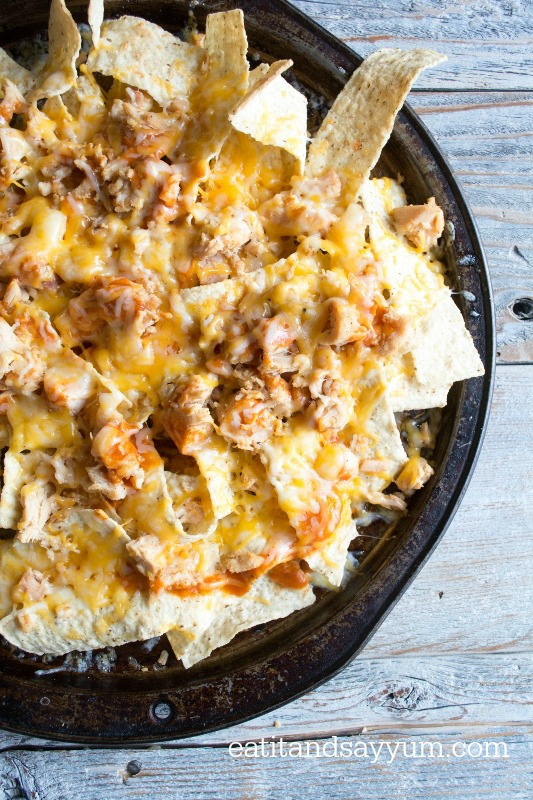 Chicken Enchilada Nachos made in the oven, easy meal or snack
