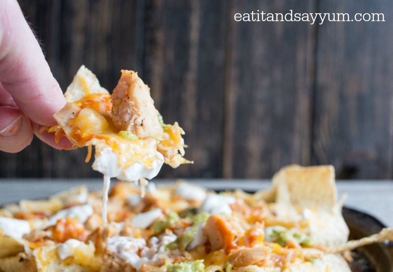 Chicken Enchilada Nachos- our go-to Sunday snack- great for parties or lunch as well