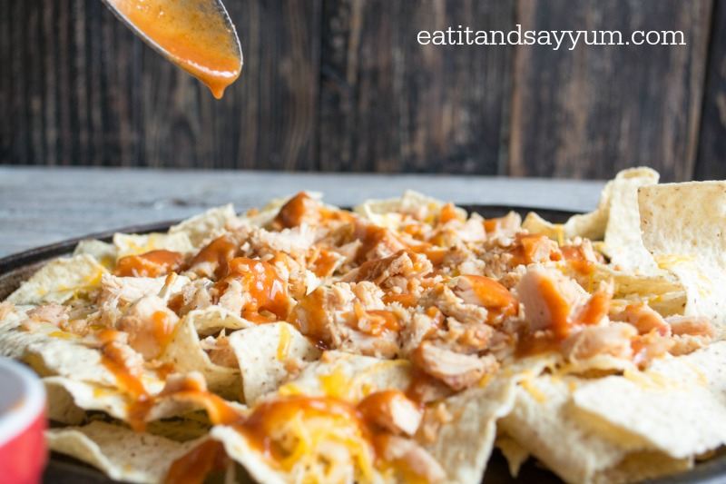 Chicken Enchilada Nachos with homemade red enchilada sauce