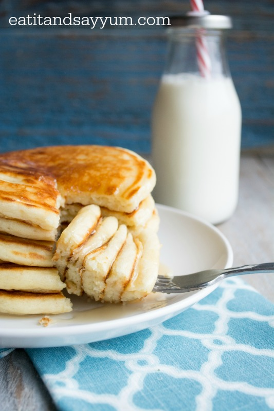 Buttermilk Pancakes that are light and fluffy- perfect, classic pancakes