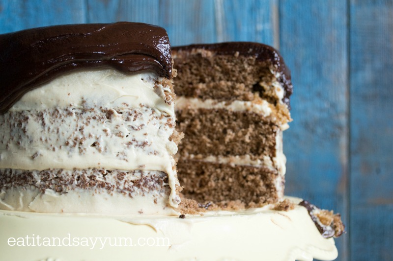 Chocolate Peanut Butter Cake with peanut butter frosting and chocolate ganache