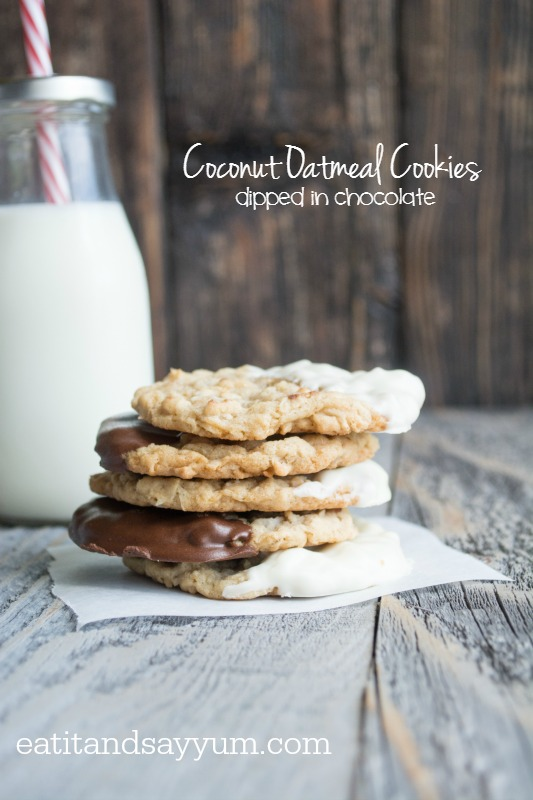 Coconut Oatmeal Cookies dipped in chocolate and white chocolate