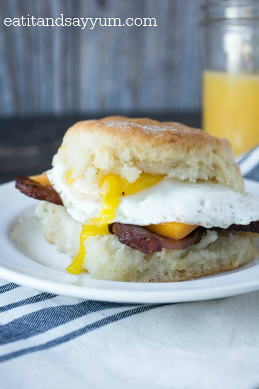 Breakfast Sandwiches on Herb and Cheddar Biscuits  with bacon, egg and cheese