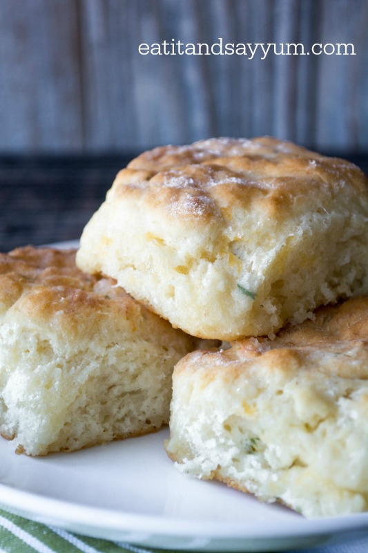Buttermilk Herb and Cheddar Biscuits from eatitandsayyum.com