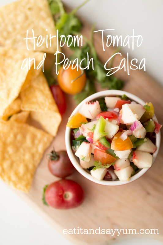 Heirloom Tomato and Peach Salsa - delicious salsa!  Great use of peaches