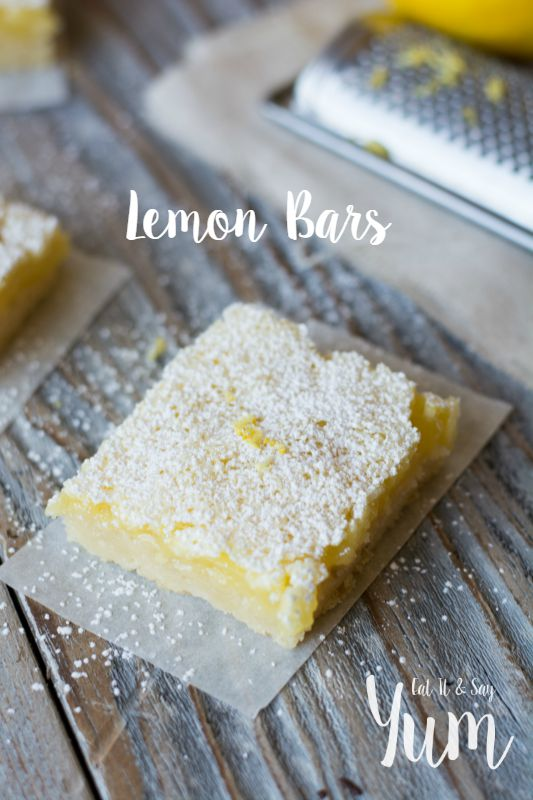 My favorite Lemon Bars- made from scratch- so delicious- creamy lemon filling over a buttery crust
