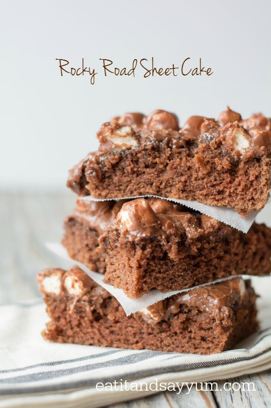 Rocky Road Sheet Cake- the best frosting ever! and it's full of marshmallows and peanuts!