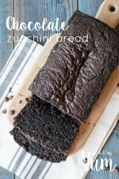 Chocolate Zucchini Bread- lots of chocolatey flavor, with chocolate chips and zucchini