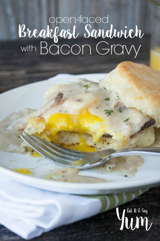 Breakfast Sandwich with an easy egg and bacon gravy