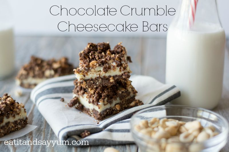 Chocolate Crumble Cheesecake Bars are a delicious dessert with lots of chocolate flavor and added crunch from peanuts and graham crackers