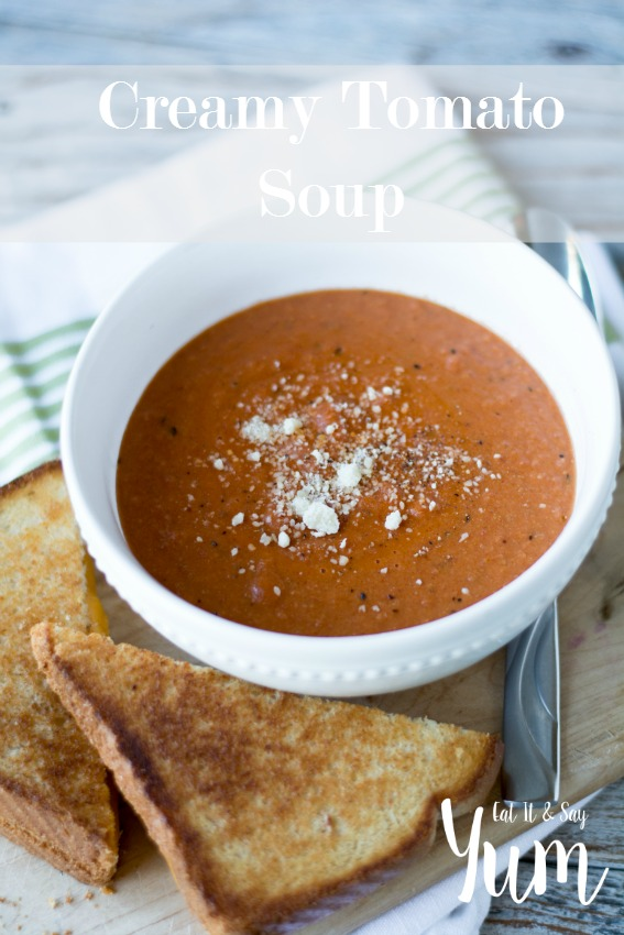 Creamy Tomato Soup, thick and delicious- not the runny soup from the store