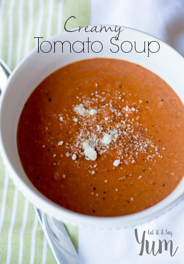 Creamy Tomato Soup with cheese- perfect for dipping sandwiches