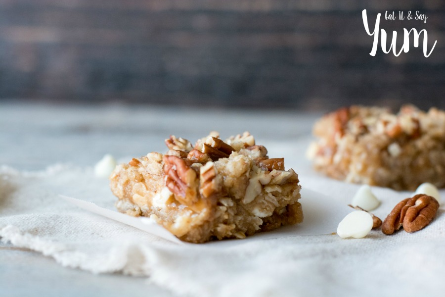 White Chocolate Pecan Carmelitas recipe- great hand held dessert, with oatmeal and pecans!
