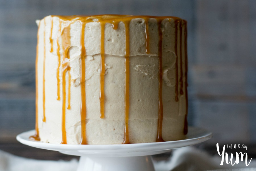Harry Potter Butterbeer Cake- with a browned butter frosting and Spiced Molasses Butterscotch