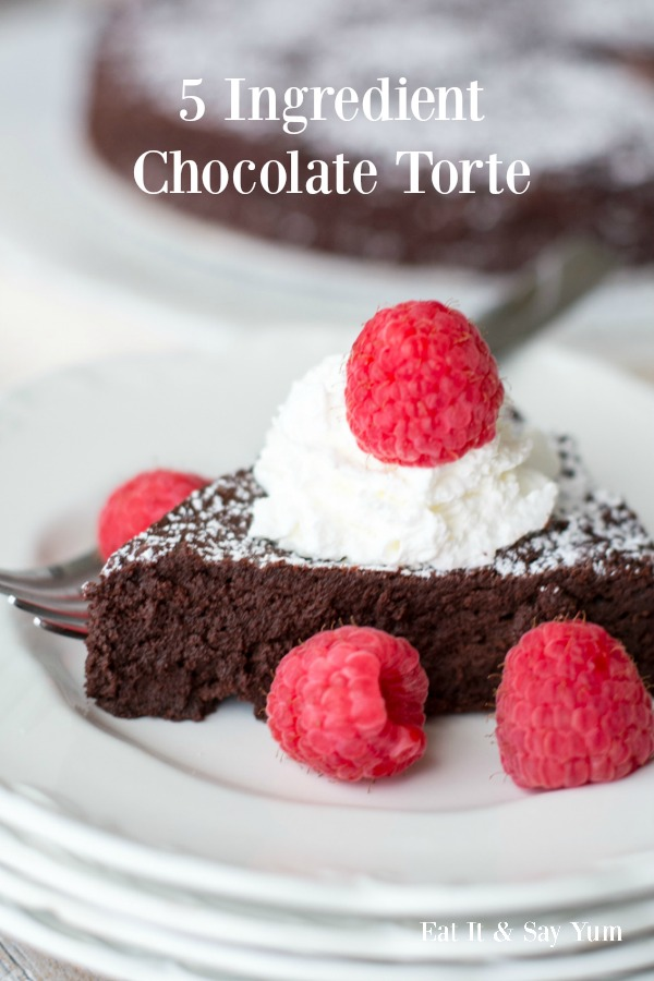 5 Ingredient Chocolate Torte- that is way easier to make than you might think! Great dessert for Valentine's Day!