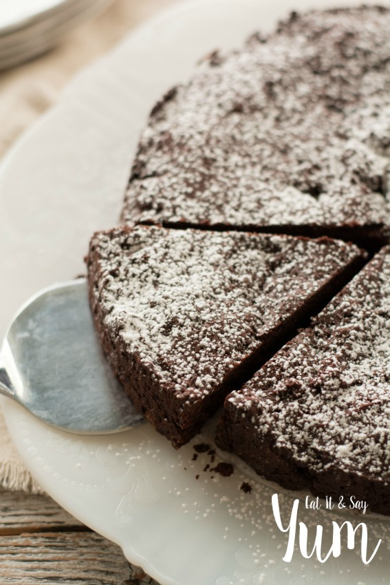 Chocolate Torte- dusted with powdered sugar- perfect with whipped cream and berries- or ice cream