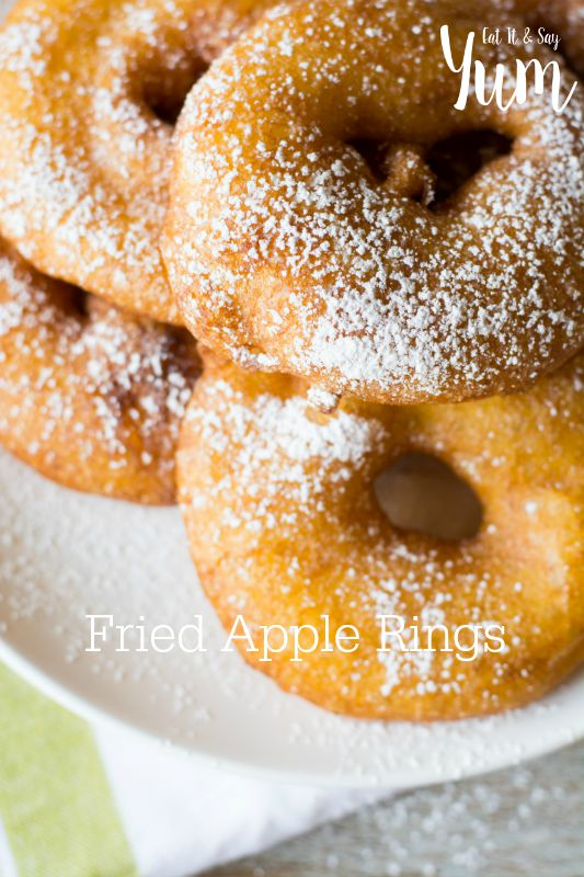 Fried Apple Rings- like a donut with an apple slice in it- great for breakfast or dessert