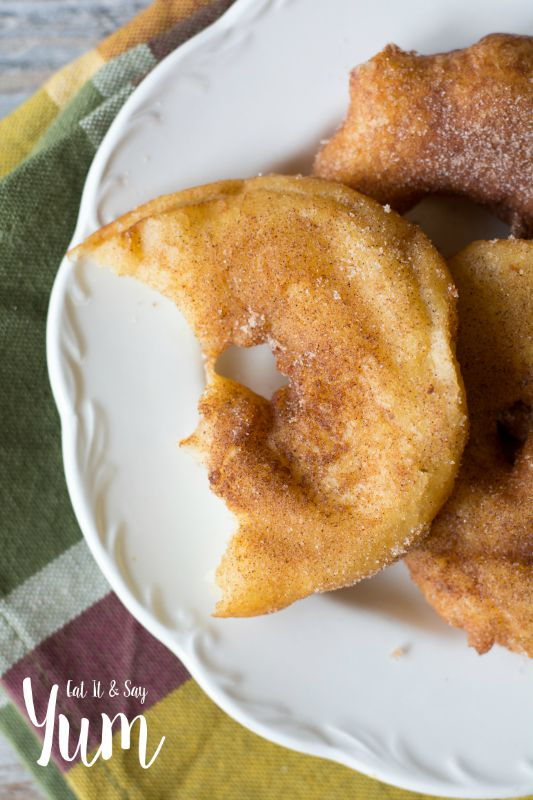Fried Apple Rings- with cinnamon and sugar- light and fluffy with a warm apple slice in it