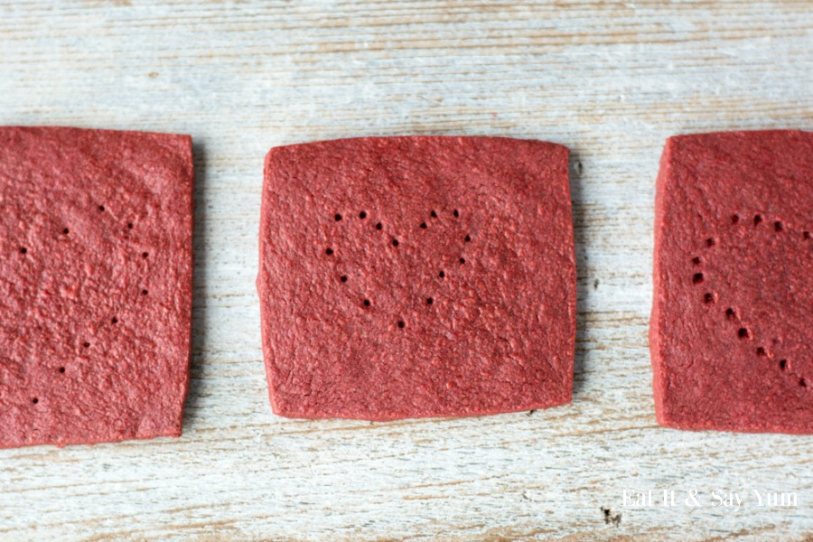 Red Velvet Graham Crackers- with hearts pricked in them