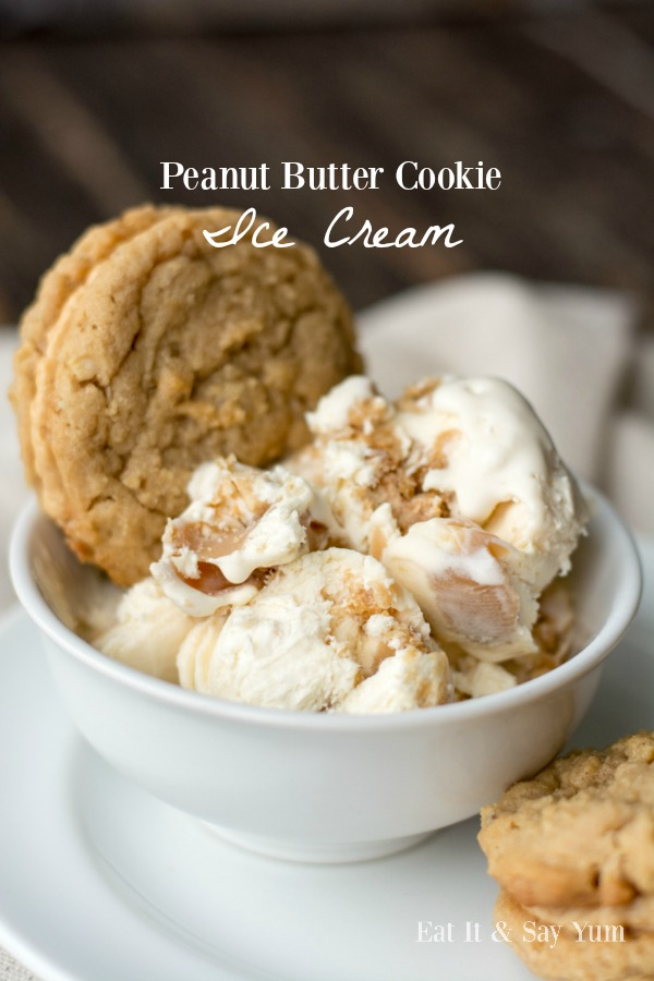 Peanut Butter Cookie Ice Cream- no-churn ice cream with chunks of peanut butter sandwich cookies and ribbons of peanut butter fudge- delicious, frozen treat