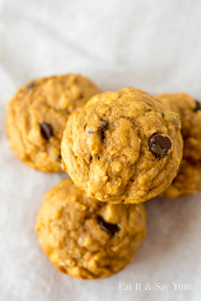 Pumpkin Banana Muffins-with chocolate chips- kids love them and they are great for breakfast, school lunch, or a snack!