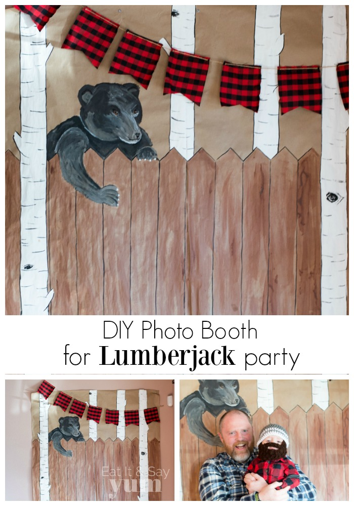 DIY Photo Booth backdrop for a Lumberjack party at Eat It & Say Yum